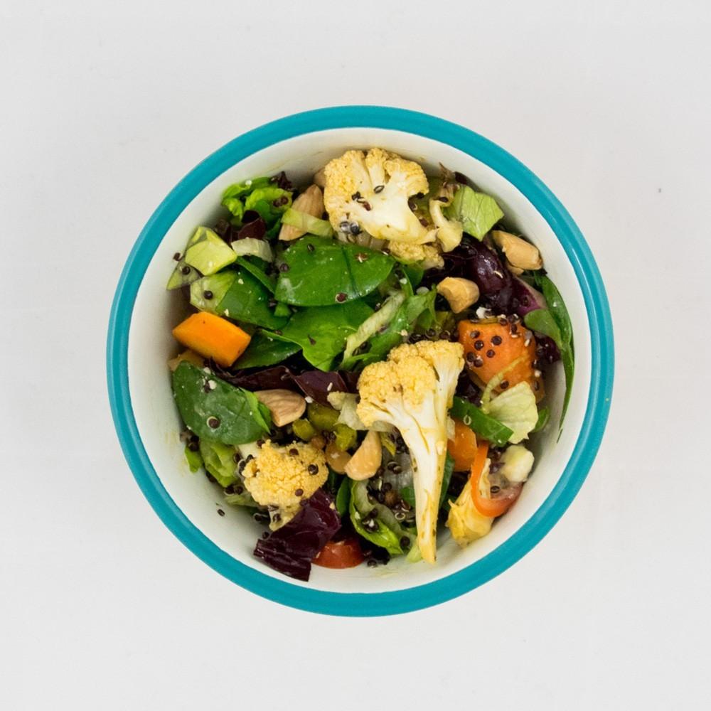 bloemkoolsalade en broodjes bestellen
